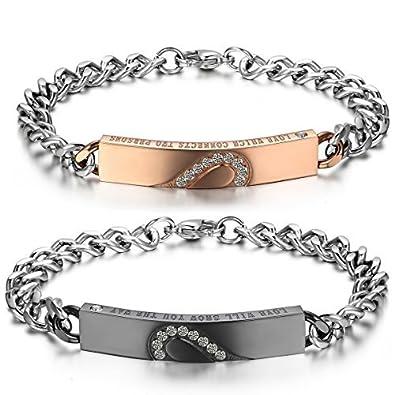 JewelryWe Bijoux 2PCS Bracelet Amour d\u0027Amitié Cadeau de saint valentin  Puzzle Coeur Amour Acier Inoxydable Fantaisie pour Homme et Femme Chaîne de  Main