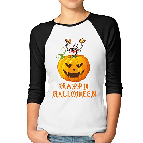 LOYRA Women's 3/4 Sleeve Happy Halloween Basketball Tee Black XXL]()