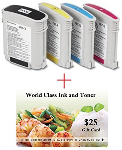 WCI© Best Value Pack® of All (4) Genuine, Original Pitney Bowes Brand 78P-Z Ink Cartridges for PB Connect Postage Machines. (1) Ea of: 787-3/787-D/787-E/787-F Inks + FREE $25 Restaurant Gift Card.