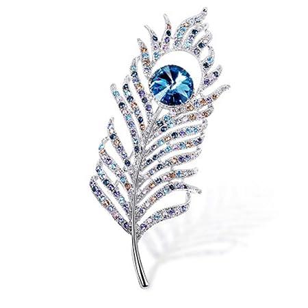 Broche Crystal Diamond Pluma Broche Traje de Boda Cubierta ...