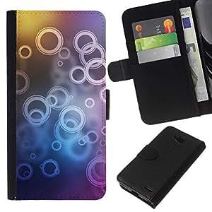 All Phone Most Case / Oferta Especial Cáscara Funda de cuero Monedero Cubierta de proteccion Caso / Wallet Case for LG OPTIMUS L90 // Neon Bubble Circle Pattern