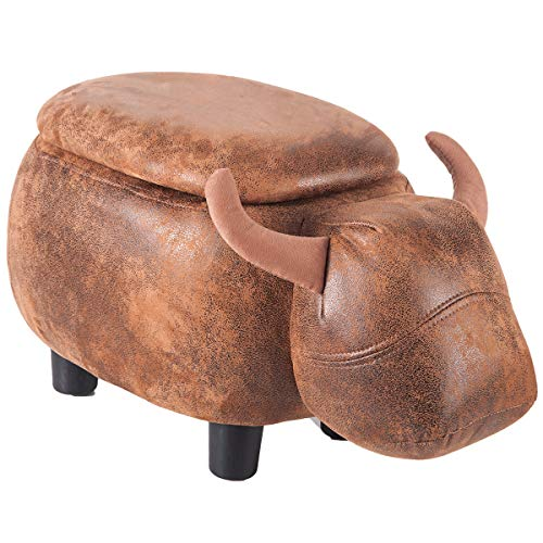 - Merax Have-Fun Series Upholstered Ride-on Storage Ottoman Footrest Stool with Vivid Adorable Animal Shap (Brown, Buffalo)