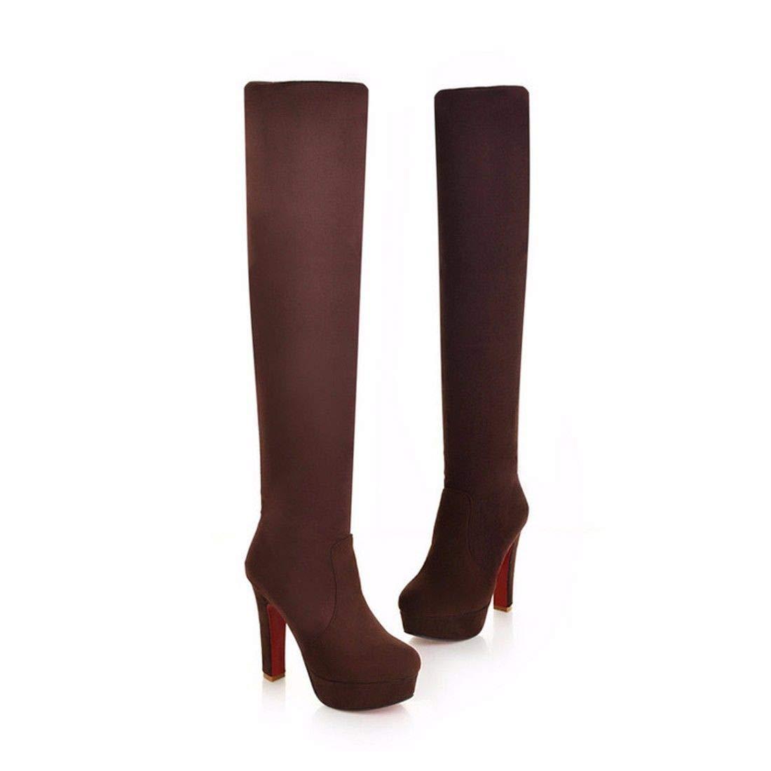 AIKAKA Frauen Herbst und Winter Europa und Amerika Sexy warme High Heel Schuhe Overknee Stiefel