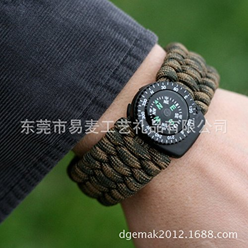 K wheat-5-one clip compass umbrella rope bracelet flint survival whistle umbrella rope bracelet detachable compass