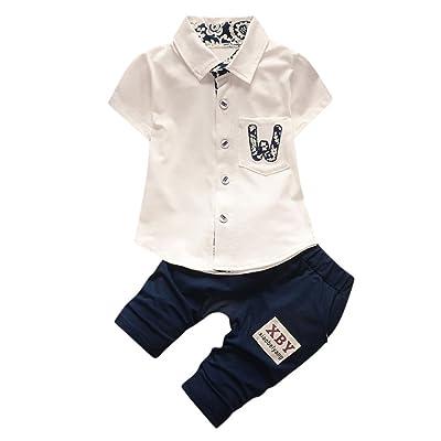 Birdfly Unisex Toddler Baby Kid Letter Print Handsome Striped Polo Boy Girl Shirt+ Pants&T-Shirt +Pants 2Pcs Set