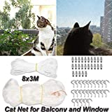 Baiwka Cat Safety Net, Extra-Large 8M x 3M Cat Protection Net, Tear-Proof/Durable/Tansparent Cat Safety Window Net, Cat Net for Balcony Window Door (with 20 Hooks/20 Dowels/All-Round Rope)