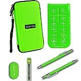 Guerrilla Hard Travel Case for TI-83 Plus, TI-84 Plus, TI-84 Plus Color Edition, TI-89 Titanium, TI-Nspire CX&CX CAS,HP50G Graphing Calculators + Guerrilla's Essential Calculator Accessory Kit, Green