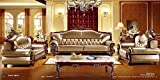 Living Room Furniture Best Deals - Ma Xiaoying Genuine Leather, Traditional Collection Living Room Set (Sofa, Loveseat & Chair), Silver Brown by Ma Xiaoying