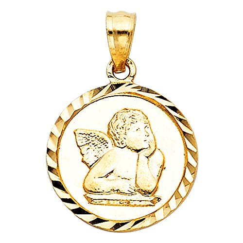 Wellingsale 14K Yellow Gold Polished Diamond Cut Ornate Religious Cherub Angel Charm (Charm Angel Cherub Religious Pendant)