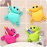ANZYDEAL 1PC Animal Frog Silicone Toothbrush Holder Family Set Wall Bathroom Hanger Suction