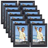 4x6 picture frames - Icona Bay Black Picture Frames (4 x 6 Inch, 12 Pack) Bulk Set, Wall Mount Hangers and Table Top Easel Included, Display Horizontally or Vertically, Inspirations Collection