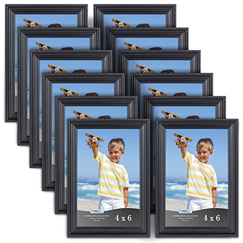 Icona Bay 4x6 Picture Frames (12 Pack, Black) Black Picture Frame Set, Wall Mount or Table Top, Set of 12 Inspirations Collection ()