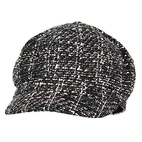 Folie Co. Black Tweed Cabbie Paperboy Hat for Women, Winter Driving Newsboy Beret Cap