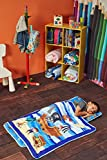 EVERYDAY KIDS Toddler Nap Mat with Removable Pillow -Pirates Treasure - Carry Handle with Fastening Straps Closure, Rollup Design, Soft Microfiber for Preschool, Daycare, Sleeping Bag -Ages 2-4 Years