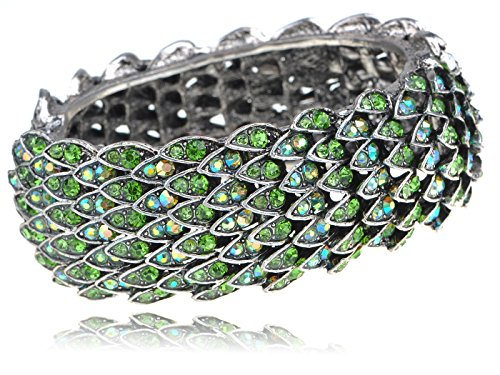 Alilang Womens Silvery Tone Green Rhinestones Multicolor Dragon Scales Bird Feather Bangle Bracelet