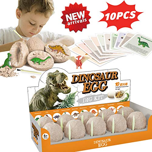 HOMOFY 10Pcs Dinosaur Toys Dino Egg Dig Kit-Break Open 10 Unique Dinosaur Eggs & Discover Cute Dinosaurs-Easter Archaeology Science STEM Kids Toys for Age 3+Years Old Boys Girls Gifts