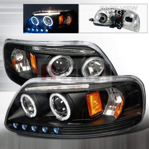 (1997-2003 Ford F150 Led Dual Halo Black Projector Head Lights 97 98 99 00 01 02 03)