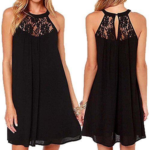 Ankola Chiffon Dress,Women's Elegant Sleeveless Halter Floral Lace Cocktail Party Short Mini Dress (Black, L) ()