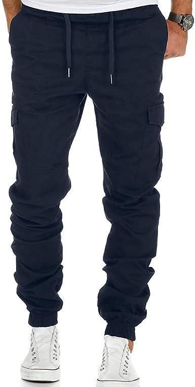 Vectry Pantalones Hombre Moda Hombre Deporte Color Puro Vendaje ...