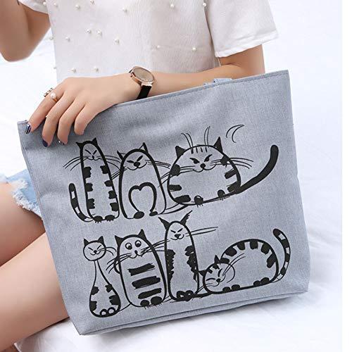 de Cremallera impresión Nette Gatos de Lona de de Veryeah de de de Bolsa Compra Tote beiläufige de Hombro la Mujeres Bolso Caricatura w4FB68gq