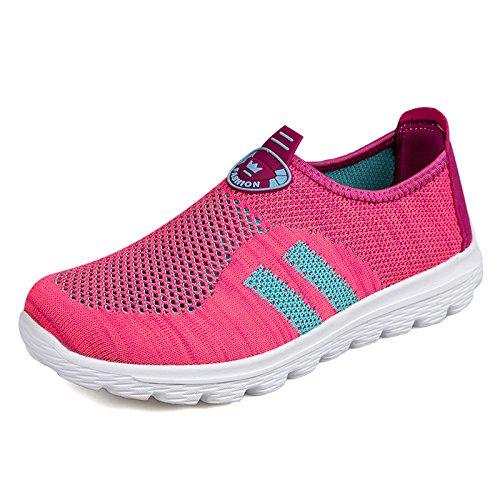 Hasag Zapatos de Malla Transpirables de Verano Zapatos de Mamá Zapatos Deportivos Zapatos de Tela Antideslizante de Suela Suave M25 Rose