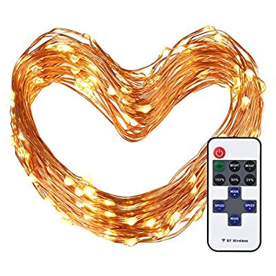 Cymas Outdoor String Lights, 100 LEDs Decorative Lights 33ft Copper Wire Warm White String Light Dimmable with Remote Control for Indoor Outdoor, Bedroom, Patio, Wedding, Party Decoration