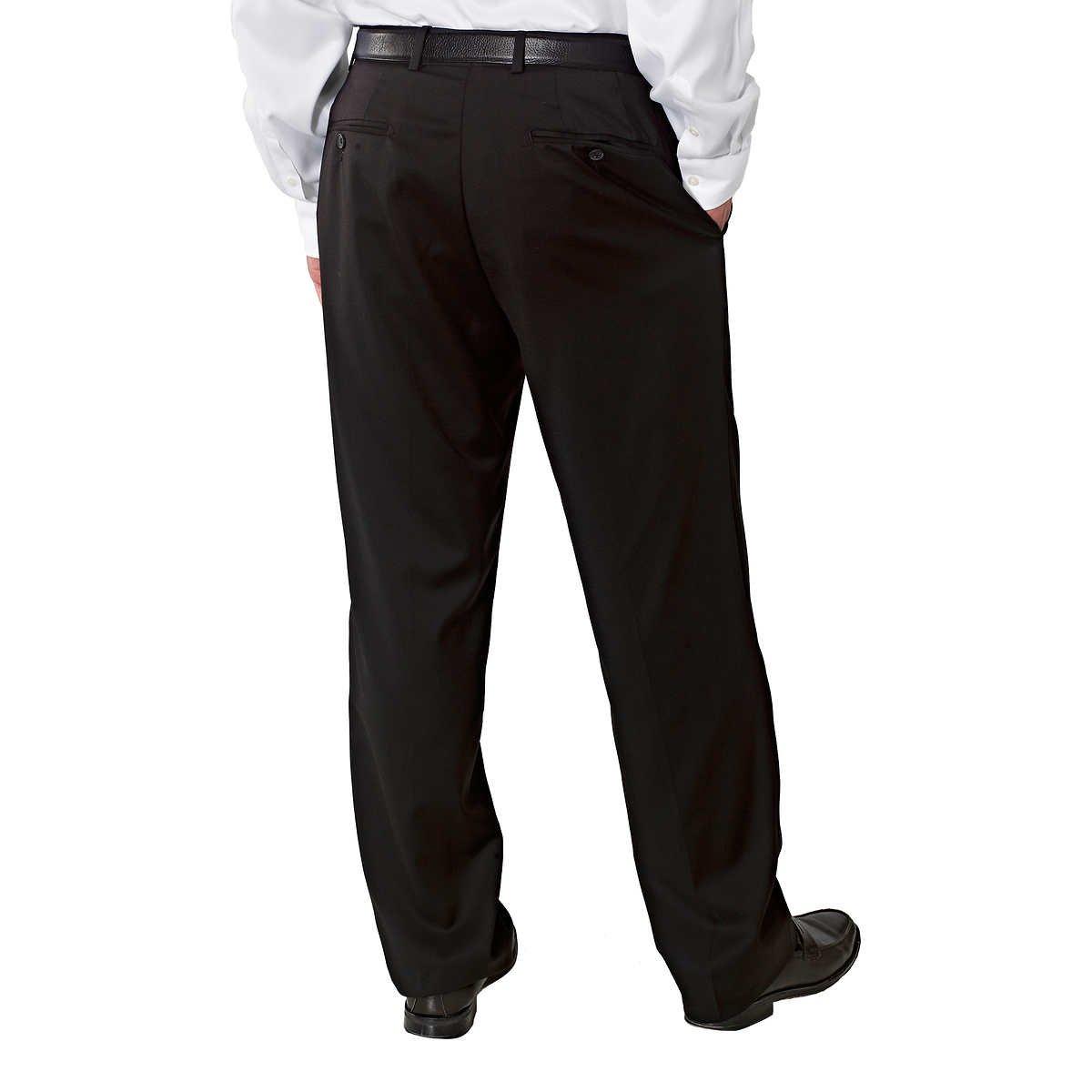 Kirkland Signature Mens Wool Flat Front Dress Pant-Open Bottom Hem (36X32, Black) by Kirkland Signature. (Image #2)