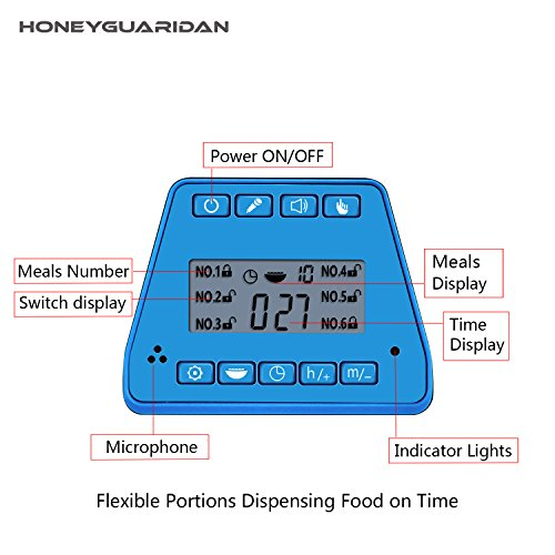 HoneyGuaridan A25 Automatic Pet Feeder Food Dispenser with Removable Food Container, Portion Control,Voice Recording and Timer Programmable, 6-Meal for Dogs (Medium and Small) and Cats & Small Animal by HoneyGuaridan (Image #2)