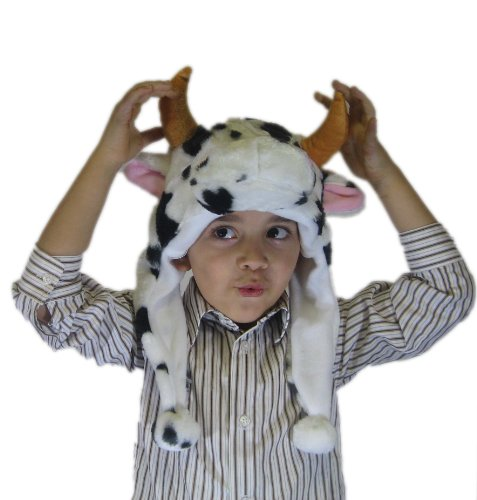 [Winter Cow Animal Hat Balls Plushy Animal Cap Plush One Size for All Adults and Kids] (Cow Head Hat Adult)