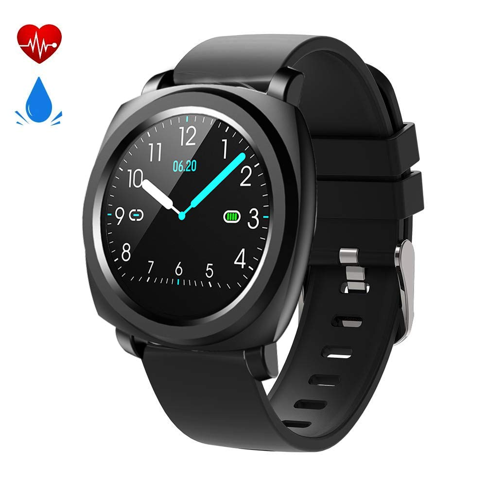 feifuns Fitness Tracker Smart Watch,Waterproof Fitness Watch Activity Tracker with Heart Rate Monitor,Sleep Monitor Step Counter Pedometer Watch for Men Women Kids,Long Battery Life (Black-02)
