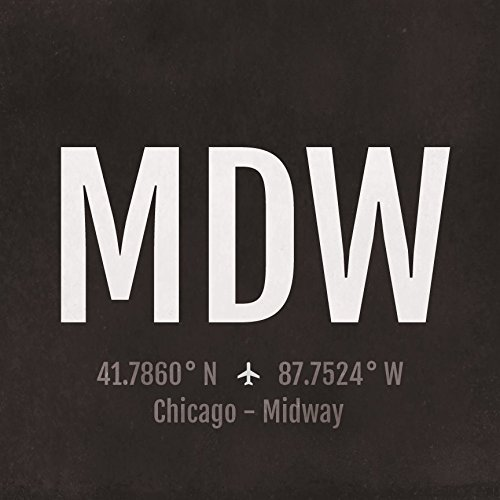 Chicago MIdway Airport Code Print - MDW Aviation Art - Illinois Airplane Nursery Poster, Wall Art, Decor, Travel Gifts, Aviation - Chicago Airport Map