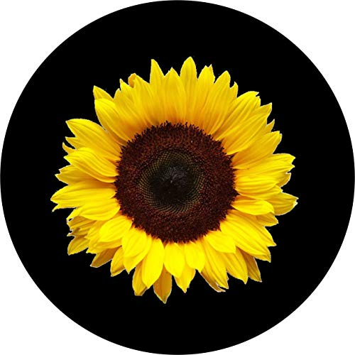 - TIRE COVER CENTRAL Single Large Sunflower Spare Tire Cover fits Center Mounted Back up Camera Openings(Drop Down menu Sizes (245/75r17 Backup Camera, Black)