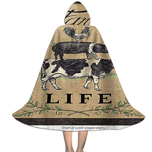 Marsh Farm Halloween (Halloween Costumes Farm Life Classic Fashion Hooded Witch Wizard Cloak for Womens Mens Kids)