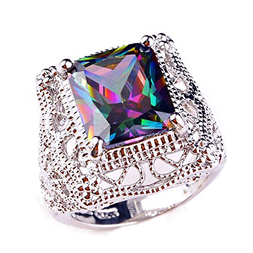 Psiroy 925 Sterling Silver Created Rainbow Topaz Filled Filigree Art Deco Statement Ring Size 7 ()