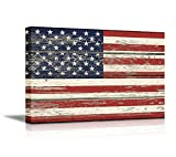 wall26 Canvas Prints Wall Art - Flag of USA/Stars and Stripes on Vintage Wood Board Background Stretched Canvas Wrap. Ready to Hang - 24'' x 36''
