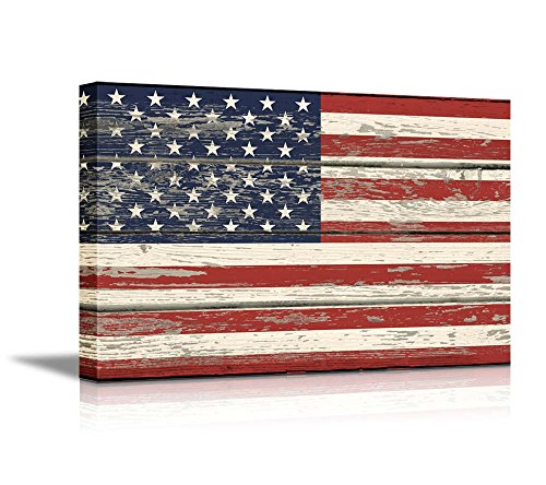 Wall26 - Canvas Prints Wall Art - Flag of USA / Stars and Stripes on Vintage Wood Board Background Stretched Canvas Wrap. Ready to Hang - 16