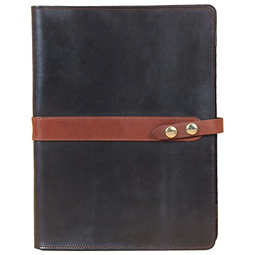 Leather Business Portfolio Case for Tablets iPad Folio Black USA Made Full-Grain No. 18 by Col. Littleton