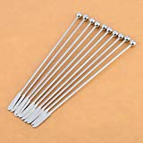 """Drink Stirrers, Yamix 10Pcs 7.5"""" Stainless Steel Swizzle Sticks Coffee Cocktail Stirrers Martini Mixing - Silver"""