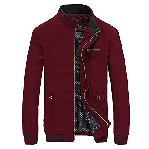 Marck Sch Fashion Autumn Men Casual Jacket Coat Mens Fashion Washed 100% Cotton Brand-Clothing Jackets Coats Zipper Sales Red 4XL by Marck Sch wool-outerwear-coats