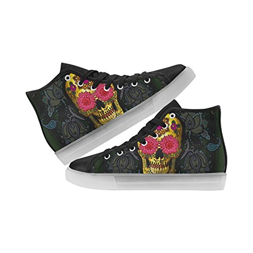InterestPrint rainbow Light Up Womens Shoes Flashing Sneakers Sugar Skull 2 NTifwe