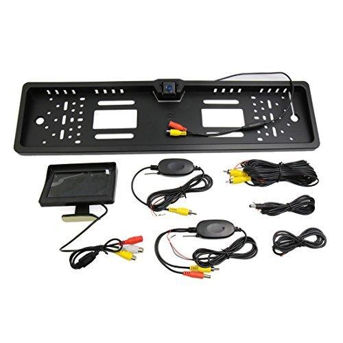 eDealMax Auto plastica nera Targa di immatricolazione di retrovisione parcheggio Della macchina fotografica w 4.3Inch Monitor
