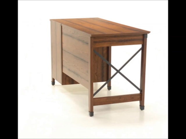 "Sauder Carson Forge Desk, Washington Cherry finish - Overall Dimensions: 53 1/4"" W x 22 5/8"" D x 29 3/4"" H Three drawers with metal runners and safety stops Lower drawer holds letter-size hanging files - writing-desks, living-room-furniture, living-room - 51kfEz8qbXL -"