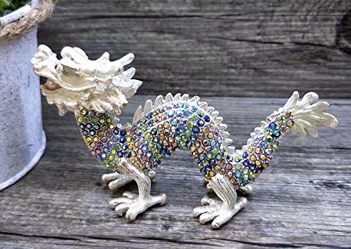 - znewlook Silver Dragon Jeweled Trinket Box with Czech Crystals