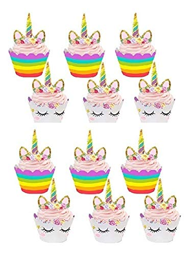 - SWEETY DESSERTS - Unicorn Cupcake Toppers and Wrappers - Double Sided Kids Party Decorations Set of 30Pcs Supplies for birthday Parties, Kids Parties, Baby Showers