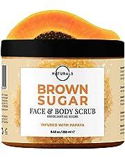 O Naturals Exfoliating Brown Sugar & Papaya Natural Face Lip Body & Foot Scrub Hydrating Moisturizer Firming Reduce Look of Cellulite Reduce Ingrown Hair Skin Dry Skin for Men & Women 250gr
