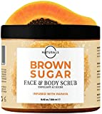 O Naturals Exfoliating Brown Sugar & Papaya Gentle Scrub for Face, Lips & Body. Hydrating, Anti-Cellulite Treats, Acne Ingrown Hairs Razor Burn Scars Stretch Marks & Varicose Veins. Moisturizing. 239g