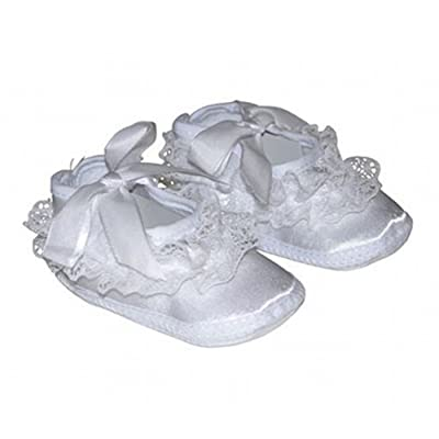 Baby Girl Christening Baptism Flower Lace Satin Shoes