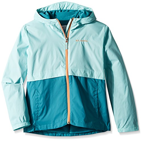 Columbia Big Girls' Rain-Zilla Jacket, Candy Mint, Emerald Sea, XL