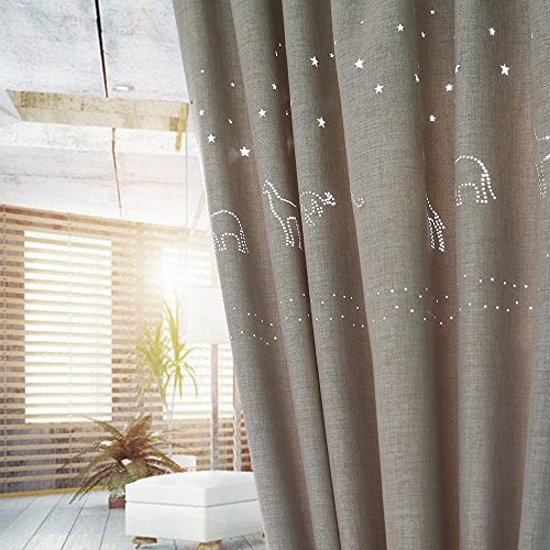 Melodieux Star Hollow Blackout W52 x L84-inches Faux Linen Noise-free Grommet Top Curtain, Star Animal(Beige) (Barn Pottery Decorations)