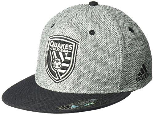 - adidas MLS San Jose Earthquakes Men's Heathered Gray Fabric Flat Visor Flex Hat, Large/X-Large, Gray